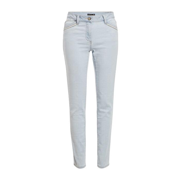 Jeans ajusté taille basculée denim bleach femme