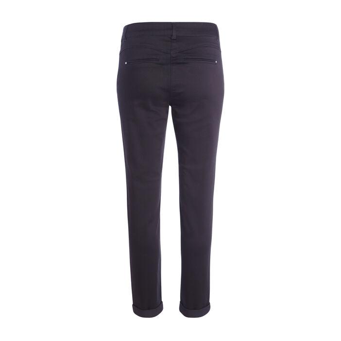 Pantalon 7/8ème ajusté à revers noir femme