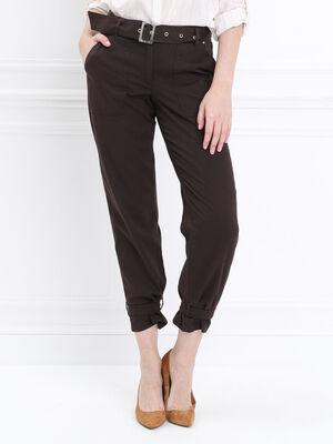 Pantalon cargo taille standard marron fonce femme