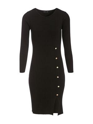 Robe pull ajustee avec boutons noir femme