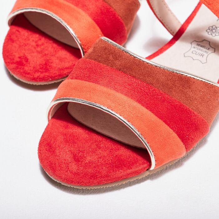 Sandales à talons orange corail femme