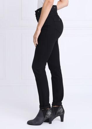 Pantalon ajuste taille haute noir femme