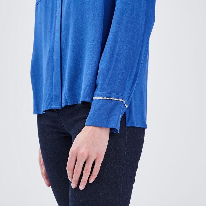Chemise manches longues bleu electrique femme