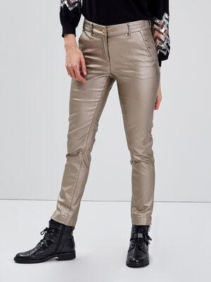 Pantalon ajuste enduit 78eme couleur or femme