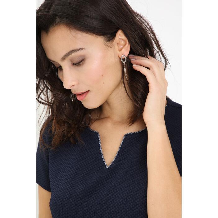 Boucles d'oreilles pendentif métal couleur argent femme
