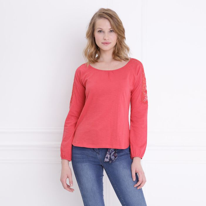 T-shirt manches longues col rond rouge femme