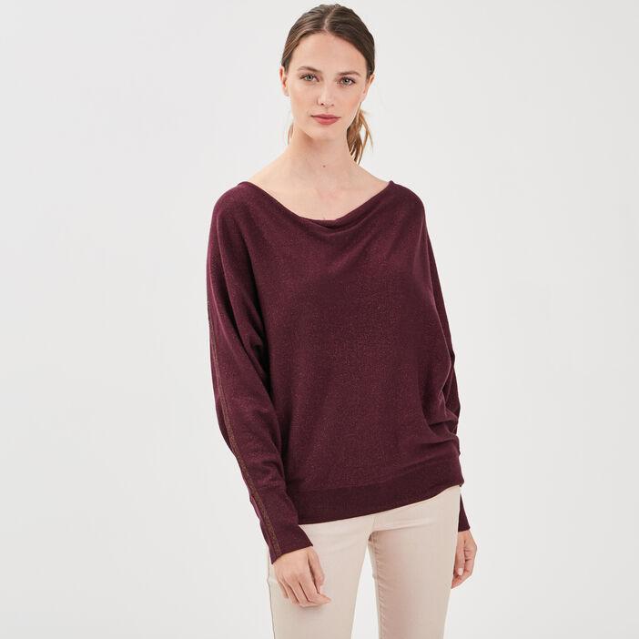 Pull manches longues violet foncé femme