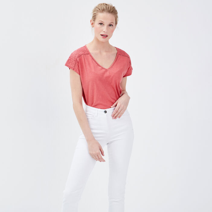 T-shirt manches courtes vieux rose femme