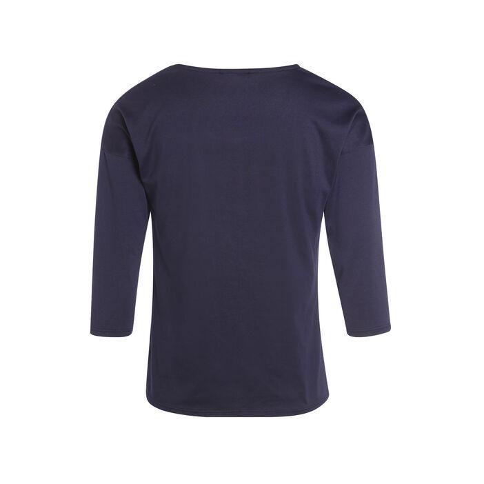 T-shirt manches 3/4 message bleu foncé femme