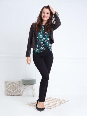 Pantalon ajuste taille haute avec strass noir femme