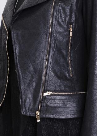 Veste esprit motard zippee noir femme