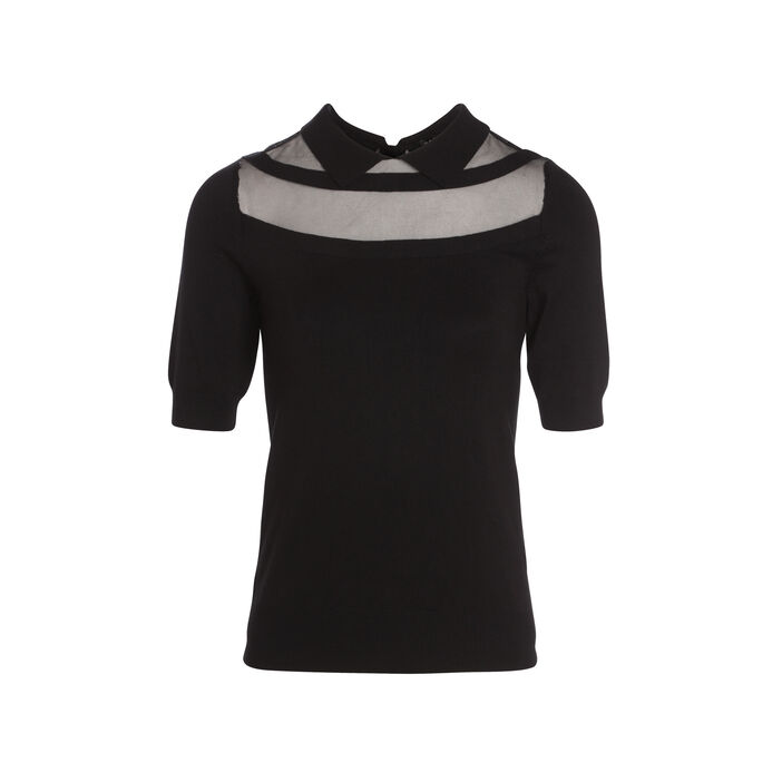 Pull manches courtes col polo noir femme