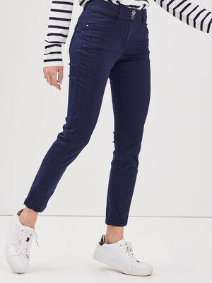 Pantalon ajuste taille haute bleu marine femme