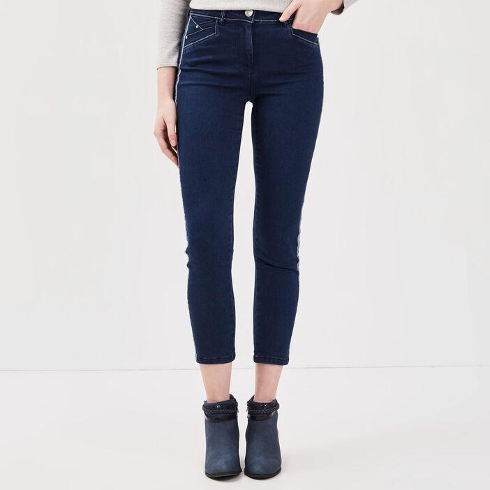 Jeans 7/8ème taille basculée denim brut femme