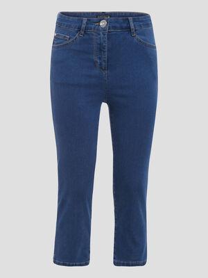 Jeans pantacourt taille haute denim double stone femme