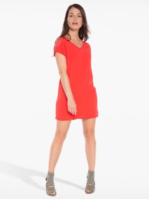 Robe courte unie detail epaule rouge fonce femme