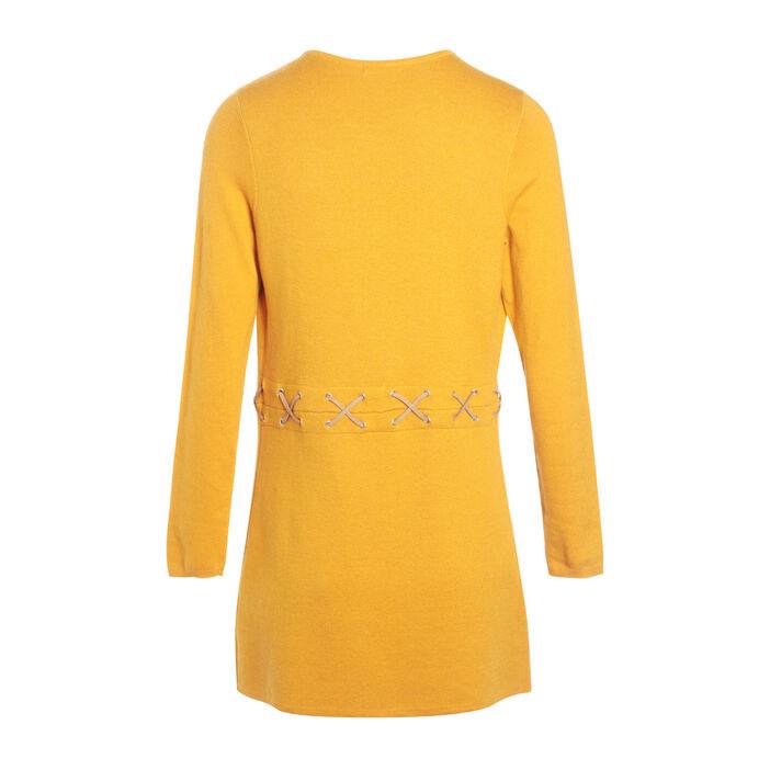 Gilet manches longues à lacets jaune or femme