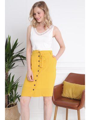 Jupe boutonnee devant jaune or femme