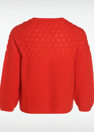 Gilet manches 34 col rond rouge corail femme