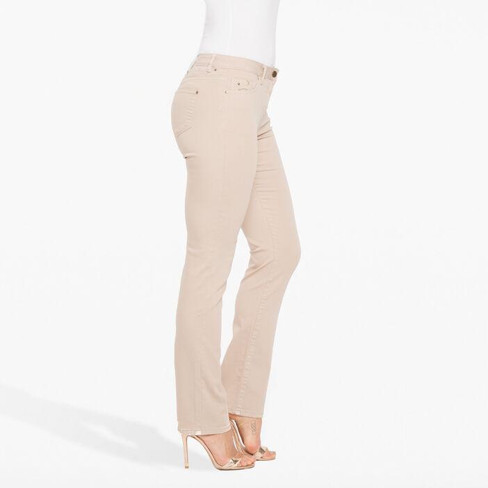 Pantalon avec broderies et perles sable femme