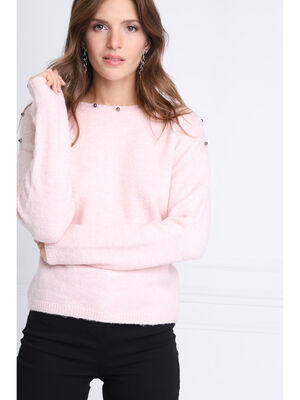 Pull col bateau maille duveteuse rose clair femme