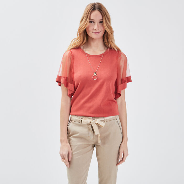 Pull manches courtes rouge femme