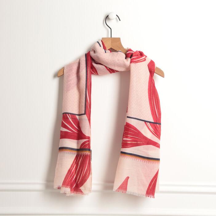 Foulard à fines franges rouge foncé femme