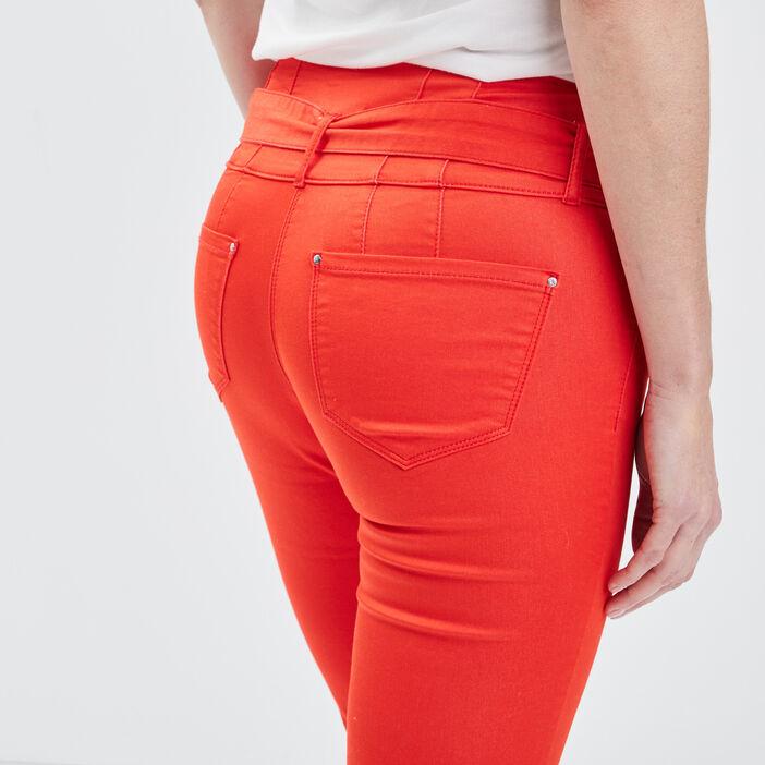 Pantalon ajusté ceinturé rouge femme