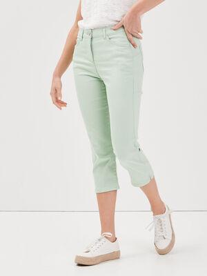 Pantacourt droit taille haute vert clair femme