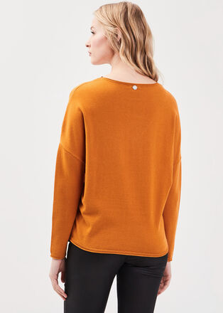 Pull manches longues perles jaune moutarde femme