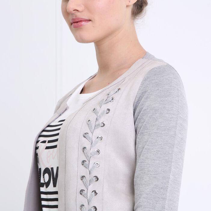 Gilet court détail lacage gris foncé femme