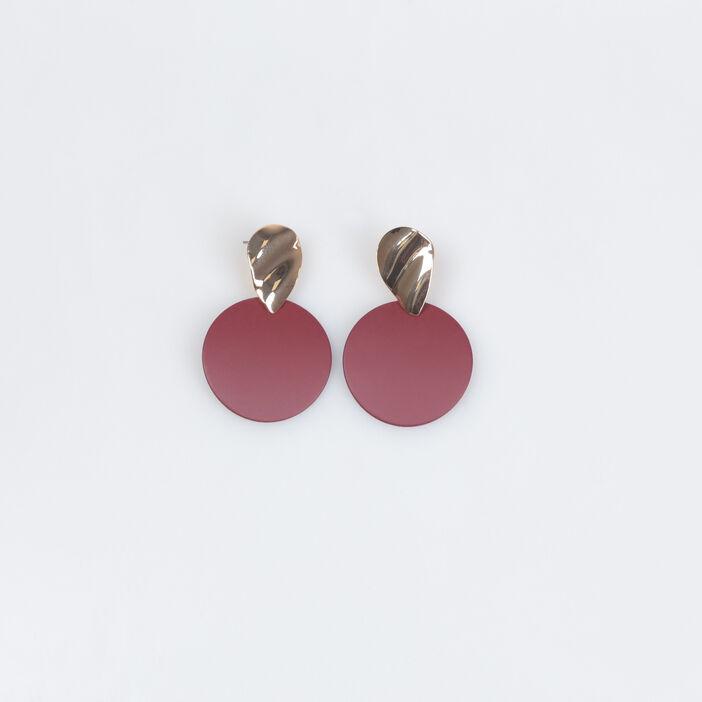 Boucles d'oreilles pendantes rouge foncé femme