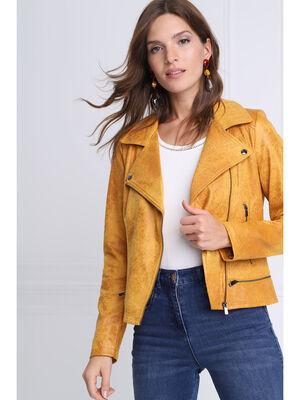 Veste esprit motard zippee jaune or femme