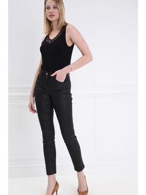 Pantalon taille haute enduit noir femme