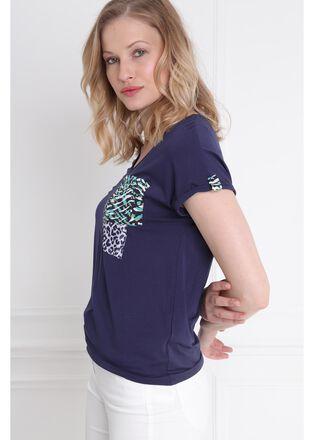 T shirt manches courtes poches imprimees bleu femme