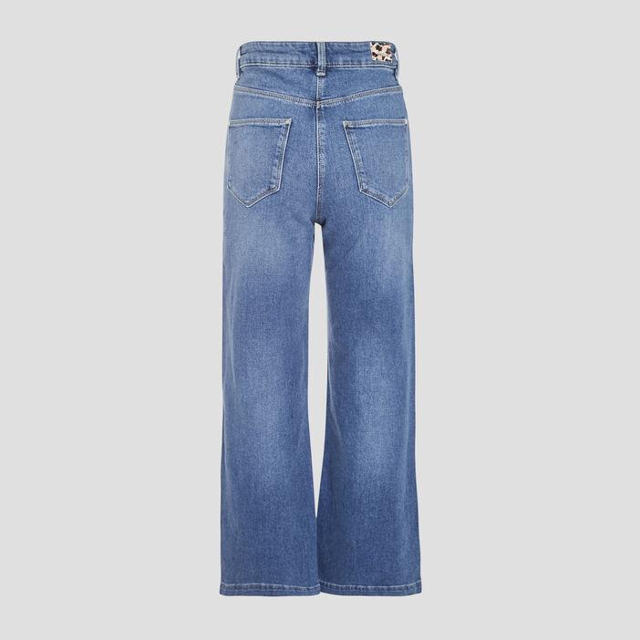 Jeans évasé court denim stone femme