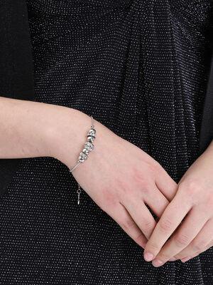 Bracelet a perles strass couleur argent femme