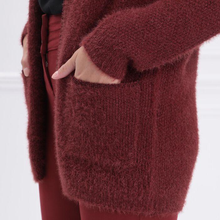Gilet shaggy liserés métallisés rouge foncé femme