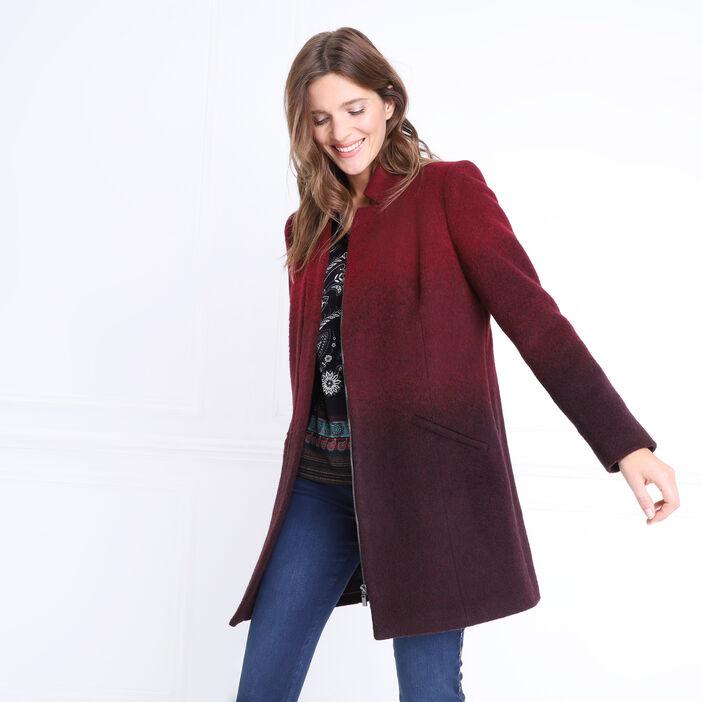 Manteau en laine zipé milieu devant rouge femme