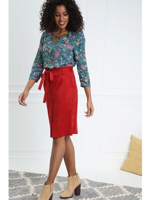 Jupe droite suedee boutonnee rouge fonce femme