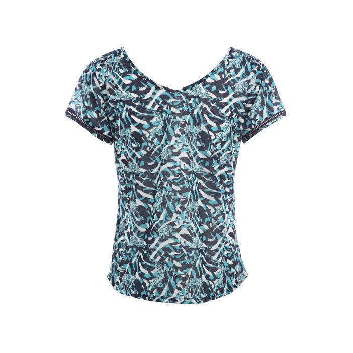 T-shirt subli tigre camouflage bleu foncé femme