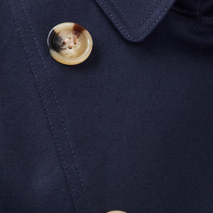 Trench droit double boutonnage bleu foncé femme