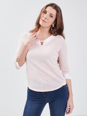 T shirt manches 34 2 en 1 rose clair femme