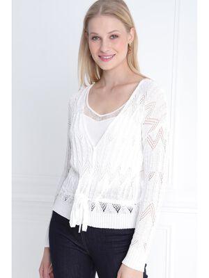 Gilet manches longues blanc femme