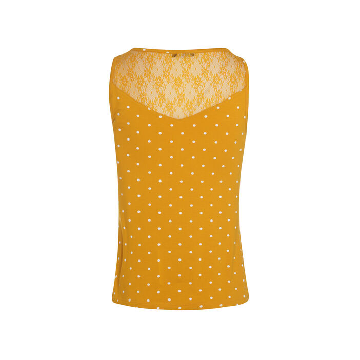 T-shirt col rond à pois sans manche jaune or femme