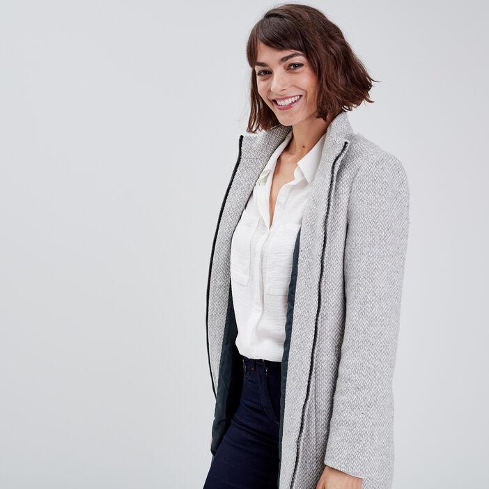 Manteau droit zippé gris clair femme