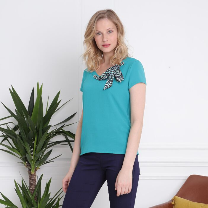 T-shirt manches courtes col foulard vert turquoise femme