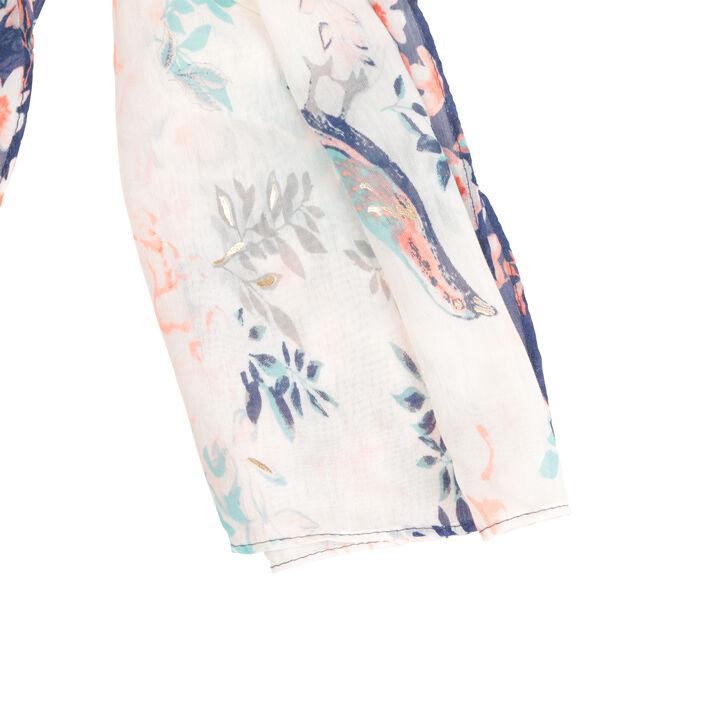Foulard imprimé à fleurs ecru femme