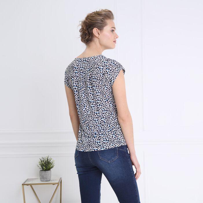 T-shirt imprimé détails épaules ecru femme