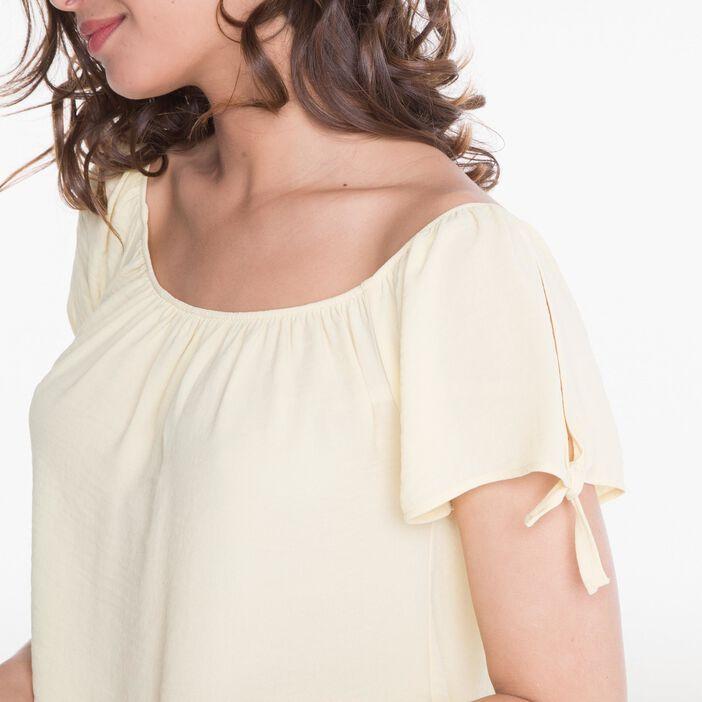 Chemise manches courtes nouée manches jaune clair femme